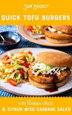 Japanese tonkatsu gets a vegan twist: we slather the finger-licking, ketchup-based sauce on our favorite tofu burgers and serve it with a citrus-miso-dressed cabbage salad. Tonkatsu Ramen, Tonkatsu Sauce, Tofu Burger, Salmon Burgers, Vegetarian Meal Prep, Cabbage Salad, Vegan Recipes, Easy Meals, Dinner