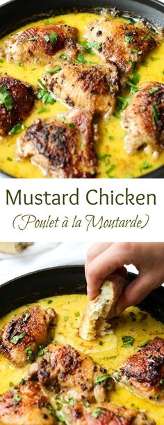 Mustard Chicken Recipe Prepare to fall madly in love with fall-off the bone chicken in a creamy mustard sauce. Mustard Chicken Recipe is a pure deliciousness. Turkey Recipes, Meat Recipes, Healthy Recipes, Healthy Food, Recipies, Quiche Recipes, Fall Recipes, Creme Fraiche Sauce, Easy French Recipes