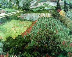 """""""Field with Poppies"""" (June, 1889) ~ Vincent van Gogh"""