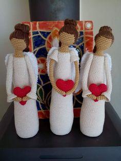 Crochet Toys Patterns, Crochet Dolls, Crochet Stitches, Knit Crochet, Crochet Monsters, Crochet Dragon, Crochet Angels, Angel Crafts, Knitted Flowers