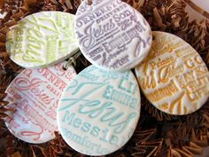 5 Easter Egg Ceramic Decorations, Handmade Textured Religious Ceramic Ornaments, Pottery Decoration, Names for Christ, Jesus, Messiah Savior