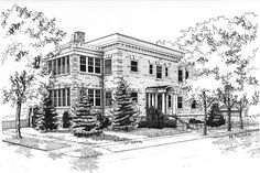 Pen & Ink architectural drawing done on Illustration board. Artwork by Mary Palmer (www.marypalmerartist.com). All Rights Reserved