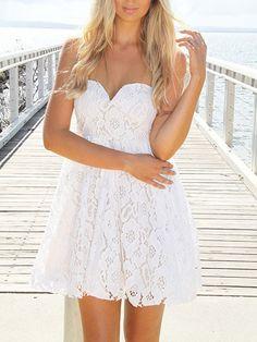 White, Strapless, Sweetheart Neckline, Crochet Lace Dress