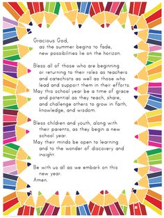USE with the 'blessing of the backpacks' Teacher's prayer