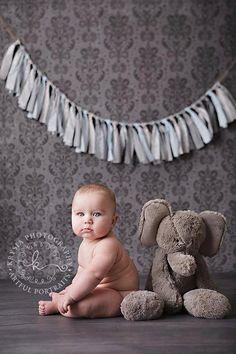 Baby Elephant  Baby Blue & Grey Rag Tie Garland by jpurifoy, $10.00