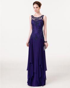 - Vestido y chal de gasa bordado y pedreríaColor moca – rosa – marino 8CY06 – bolso joya en color purpura
