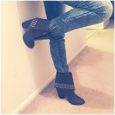 Studded Booties Studded Booties - Brownish charcoal colored. Only been worn twice. Minor scratching on heel. NO TRaDes//POSH RUlES ONLY Shoes
