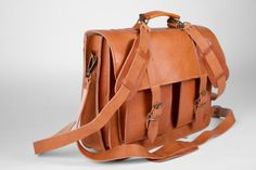 Handmade Leather School  Backpack Briefcase by MagusLeather, €132.45