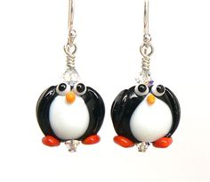 Lampwork Penguin Earrings by ShaymieChangDesigns on Etsy, $24.00 Hilarious!!