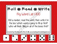 Roll Read Write --> (1-100 Fry List Sight/High Frequency Words) from ReadingWithMissB. on TeachersNotebook.com -  (19 pages)  - Roll the dice, read the trick/sight/high frequency word, then write it down. Practicing sight words while engaging in a fun activity... win/win!
