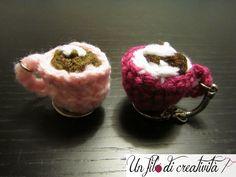 Portachiavi Tazzine fatti a mano all'unicnetto. - Keychain crochet handmade cups