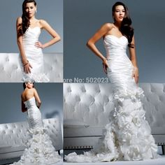 2015 New Arrival Strapless Satin A-line 2 in 1 Wedding Gowns With Detachable Train Convertible to short Wedding Dress YJM1463