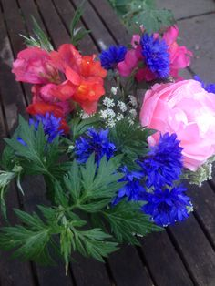 Garden posy 9th July, hot pinks, bright blue & dark green