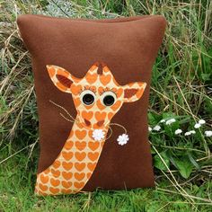 Giraffe. A soft and tactile cushion complete with inner cushion pad.  Giraffe pillow.  Jungle.