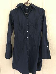 Gap Women's Shirt Dress Button Front Long Sleeves Dress Navy Blue Size 6 #GAP #SheathShirtDress #Casual