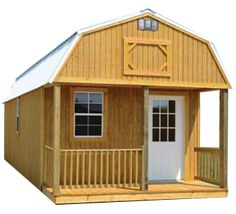 Here's a look at Derksen's Barn Lofted Cabin. It features a Gambrel roof design that allows more useable s. Shed Storage, Built In Storage, Cabin Plans, House Plans, Porch Plans, Lofted Barn Cabin, Architectural Shingles Roof, Cabins For Sale, Free Shed Plans