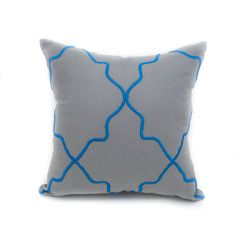 Ikat Pillow Cover, Simple and fabulous. Embroidered on linen fabric, the eclectic geometric ikat pattern pillow cover exudes a global vibe. Its hypnotic pattern is inspired by classic ikat textiles.  This pillow cover is available in size 16 x 16, size 18 x 18, size 20 x 20. Choose the size you need by using the Size drop down menus.  Mix and match pillow covers are available here https://www.etsy.com/listing/162143074/throw-pillow-cover-decorative-pillow?ref=shop_home_active_13  • Insert…