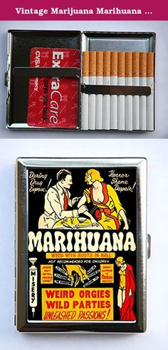 "Vintage Marijuana Marihuana Poster Cigarette Case Wallet Business Card Holder pulp weird anti drug. Case hold about 18 to 20 cigarettes. Or you can hold Ids, business cards or other things. The case is metal with two hinged side. This case opens through a side push button. The size of the case is 4 1/4"" tall by 3 1/4"" inches wide closed by 1/2"" deep. Image is protected by clear epoxy."