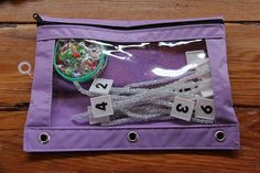 Math bag for counting and fine motor practice