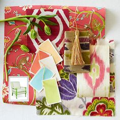 Start the palette with a foundation of a medium-range orange-pink, such as Benjamin Moore's Coral Gables paint on the walls. Incorporate light blue and green, alongside shades of creamy melon and soft white. Layer in hints of purple and raspberry pink for depth. Accessorize with flea market and globally-minded accents and motifs.