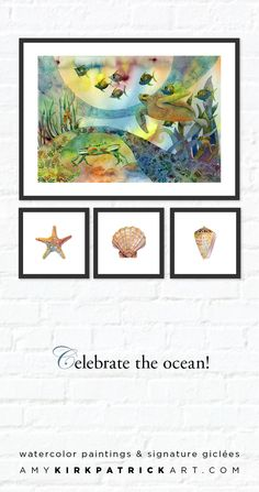 Looking to create an ocean themed arrangement on your wall? Look no further than Amy Kirkpatrick's beach series watercolor paintings. Amy Kirkpatrick art will take your wall designs to the next level. Designed to mix and match, Amy Kirkpatrick watercolor series art will bring unexpected touches to your home that add instant style. Watercolor paintings and signed giclées by Amy Kirkpatrick • AmyKirkpatrickArt.com