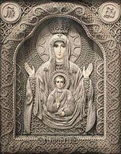Religious icons. Macrame art Vladimir Denshchikov Mother of God of The Sign VIEW ENLARGED