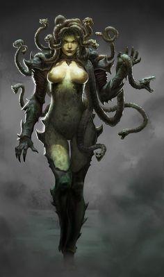 In Greek mythology Medusa was a monster, a Gorgon Mythological Creatures, Fantasy Creatures, Mythical Creatures, Fantasy Girl, Dark Fantasy, Dragons, Character Art, Character Design, Anime Sensual