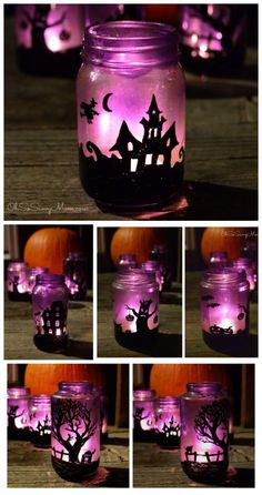 DIY Upcycled Halloween Village Luminaries