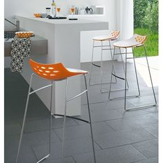 "Calligaris 026"" Jam Counter Stool - I like the solid white & green back. In my constant search for barstools."