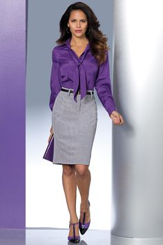 Liking the pencil skirts Blouse Sexy, Girls Blouse, Blouse Outfit, Blouse Dress, Pencil Skirt Dress, Dress Skirt, Pencil Skirts, Satin Bluse, Purple Blouse