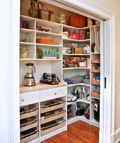 Too often, closets are an afterthought, says Marie Newton, owner of Closets Redefined. In this new home, the owner wanted non-active pantry storage (as opposed to her go-to pantry) where she could store special-occasion platters and appliances that dont see everyday use.  Still, this one is as organizedand even appealingas a pantry youd use every day. It also looks like a great way to re-purpose an underutilized closet. Custom Pantry, Southern Massachusetts. Architect: Oak Hill Architects…