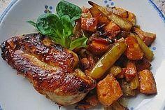 Senf - Honig - Hühnchen mit geröstetem Gemüse (Rezept mit Bild)   Chefkoch.de