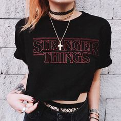 T Shirt Stranger Things Summer Short T-shirt Women Casual Tshirt Female Sexy Club Party Top Tee Printed Letters Crop Tops Shirt Grunge Outfits, Grunge Fashion, Look Fashion, Fashion Outfits, 90s Fashion, Casual Outfits, Mode Renaissance, Looks Black, Punk