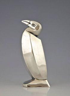 Art Deco Silvered Salt Shaker Penguin, Designed by Sandoz for Christofle, 1935