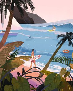 Surf Twenty on Behance Art And Illustration, Illustrations And Posters, Kunst Inspo, Art Inspo, Hawaii Vintage, Posters Vintage, Design Graphique, Beach Art, Graphic