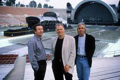 Pink Floyd's 1994 Division Bell tour started at the end of March that year, and the show kicked off with a big surprise for the audience - Astronomy Domine, performed live for the first time since 1971. This promo shot shows Nick, David and Richard in front of the memorable staging for the concerts.