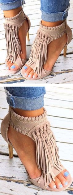 Tan Fringle Open Toe Women Sandals | You can find this at => http://feedproxy.google.com/~r/amazingoutfits/~3/k_iNuDb2SvY/photo.php