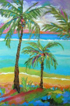Palm Trees in Landscape  Print by Karen by karenfieldsgallery, $18.00