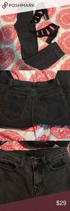 High Waisted Jeans Dark gray BDG jeans. These are a size 24 and they're 34 inches long 💫 they have no holes or rips or damage but the tag is a little worn off.  I cuffed the bottoms just for the picture but you don't have to wear them like that!! These are high waisted✨ BDG Jeans Skinny
