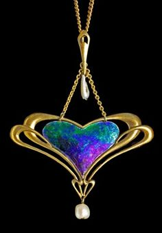 Art Nouveau, Belle Epoque, and Edwardian Jewelry ~ Archibald Knox opal and pearl heart pendant
