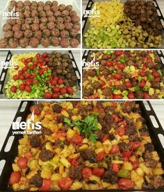 Baked Misket Meatballs Kinds of Recipe Ingredients for …- Fırında Misket Kö… – Sulu yemek – The Most Practical and Easy Recipes Iftar, Lunch Recipes, Cooking Recipes, Turkish Kitchen, Good Food, Yummy Food, Comfort Food, Turkish Recipes, Food And Drink