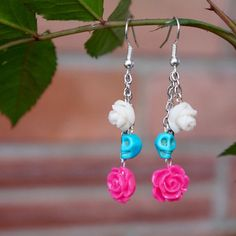 Skull Flower Earrings -  Mother's Day Gift - Spring Earrings - Pink and White Earrings - Skull Earrings - Day of the Dead - Dangle Earrings