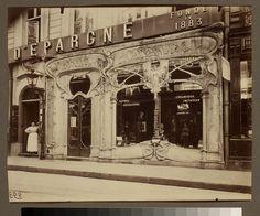 Boutique Art Nouveau, 45 rue st. Augustin (2e arr) by Eugene Atget,  George Eastman House, via Flickr