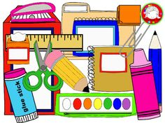 School Supplies Clipart {FRESH FREEBIE- 146 Clips} (Personal & Commercial Use)