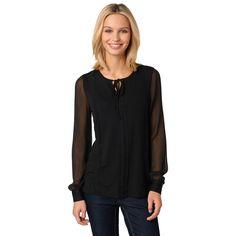 Romantisches Jersey-Shirt mit Spitze in black