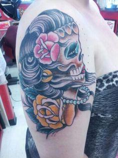 sugarskull sugar skull tat sugarskull tattoo day of the dead half sleeve pearls sugar skull tattoo for girls red lips beauty in death