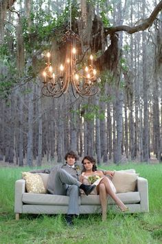 Chandeliers hanging in the trees...what a great photo backdrop!