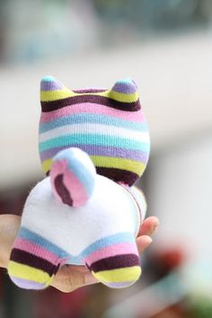 Handmade plush Sock Cat Personalized stuffed animal dolls Soft Toys Cat sock toys baby Home Decor soft doll Sewing Toys, Sewing Crafts, Sewing Projects, Fabric Animals, Sock Animals, Sock Cat, Sock Toys, Soft Dolls, Diy Doll