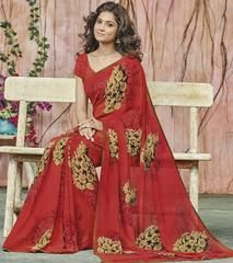 Red Color Georgette Party Wear Sarees : Prishika Collection  YF-40822