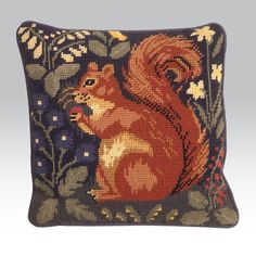Heraldic Squirrel Embroidered Cushion  Tapestry Kit  Morris and Sons